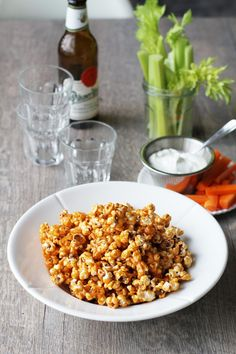 Hot and sweet buffalo popcorn - perfect for Halloween party snack