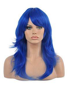 Diy-Wig Fashion Blue Long Big Wavy Oblique Bangs Party Sy…