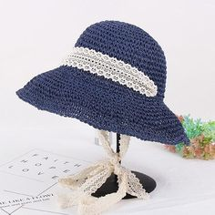 Women Summer Elegant Floppy Beach Straw Hat Wide Brim UV Protection Bucket  Cap 5326571eb336