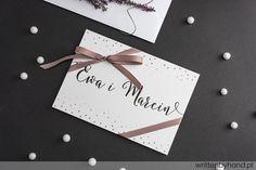 Pudrowe Kropki - Wykonane ręcznie, delikatne zaproszenie ślubne w pudrowej kolorystyce, w którym głównymi elementami są kaligrafowane Imiona Państwa Młodych, Imiona i Nazwiska osób zaproszonych, oraz napis R.S.V.P Gift Wrapping, Gifts, Gift Wrapping Paper, Presents, Wrapping Gifts, Favors, Gift Packaging, Gift
