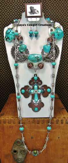 TURQUOISE HOWLITE TRIPLE Strand Cowgirl by CayaCowgirlCreations, $125.00