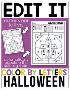 Editable Color By Code - Letters - Halloween1