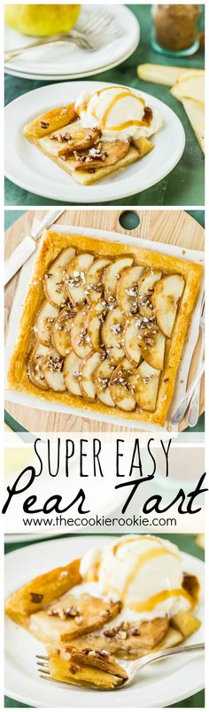 This SUPER EASY Pear Tart has only 5 ingredients and is sure to please! Pear Tarts are a beautiful and simple dessert the entire family will love! Serve with ice cream for a special treat!