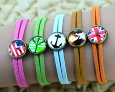 American flag,the British flag,peace sign,anchors,lovers pictures, Glass cabochon dome charm suede leather bracelet