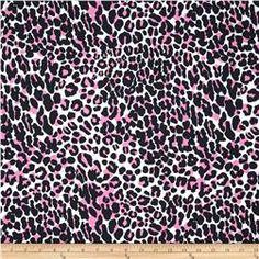 Poly Lycra Jersey Knit Swimwear Capset Cheetah Pink/Blue/White