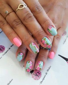Glitter Nails, Fun Nails, Blue Nail Designs, Flower Nail Art, Art Flowers, Trendy Nail Art, Super Nails, Creative Nails, Beauty Nails