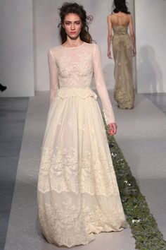 Long-sleeved lace gown from Luisa Beccaria's Fall 2012 runway show. Photo courtesy of Fairchild Archives.