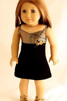 9d0488126d98 American Girl Doll Clothes - Holiday Dress of Gold and Black Velvet