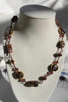 Wire Wrapped Boho Natural Rhodonite Gemstone by studiogracie $34