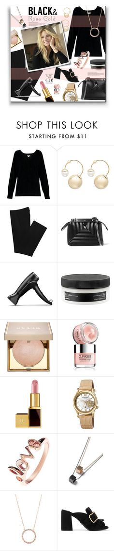 """""""Black & Rose Gold - Gwyneth Paltrow"""" by watereverysunday ❤ liked on Polyvore featuring Whistles, Witchery, Zara, Fendi, GHD, Davines, Stila, Clinique, Tom Ford and Akribos XXIV"""