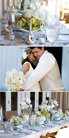 karen tran real wedding  WOULD LIKE ALL WHITE PEARLY SHELLS AND JUNGLE STARFISH ALONG WITH THE NOBBY STARFISH ON TABLES