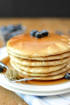 Extra Fluffy Dairy Free Pancakes | @simplywhisked