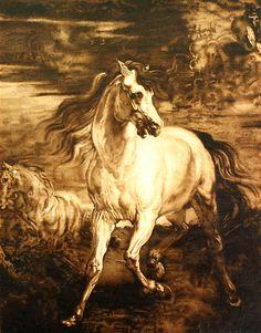 horse pyrography | horse by krasimir hristov pyrography on wood panel image courtesy of ...
