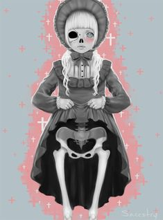 Sugary Death, Saccstry, Illustration, art, Creepy, pink, macabre, skeleton, girl