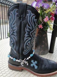 Turquoise and Pearl Boot Bracelet @ www.countrygirlbling.etsy.com