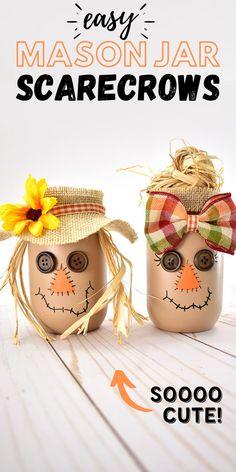 Fall Pumpkin Crafts, Easy Fall Crafts, Fall Diy, Thanksgiving Crafts, Holiday Crafts, Fall Mason Jars, Mason Jar Crafts, Mason Jar Diy, Halloween Mason Jars