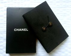 Authentic CHANEL Logo Small Pocketsize Notebook Note Pad Black in Original Box…