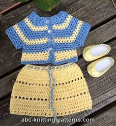 ABC Knitting Patterns - American Girl Doll Elizabeth Summer Skirt and Jacket