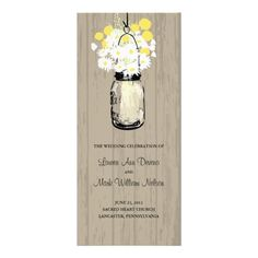 Rustic Wood Mason Jar and Wildflowers Program