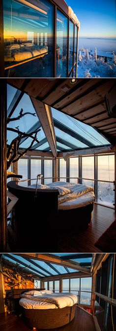 If you plan on heading to Finland anytime soon, the Eagles View Suite at the Iso Syote Hotel is calling your name. The suite is located on top of the south corner of the hotel wing, and it has a ceiling made of glass, allowing you and your loved one to la Northern Lights Hotel, Northern Lights Finland, Vacation Destinations, Dream Vacations, Places To Travel, Places To See, Finland Travel, Looking Out The Window, Belle Villa