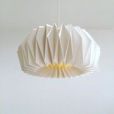 Origami paper Lamp ZÜRICH | Hand folded lamp shade | White pendant lamp for a living room | Scandinavian style handmade lamp