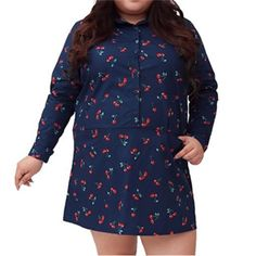 XL-4XL Navy Cherries Long Sleeve Shirt Dress SP153761