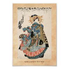 Classic japanese vintage ukiyo-e geisha and child poster
