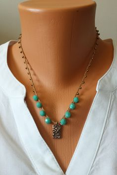 Turquoise Czech Beads Bronze Seed Beads Antiqued Copper Tierra Cast Lotus Flower Pendant Hand Crocheted Necklace by BEEDZnBAGZ by BEEDZnBAGZ on Etsy