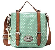 crossbody satchel handbag in mint green polka dot and leather trim from fossil by Kasey123