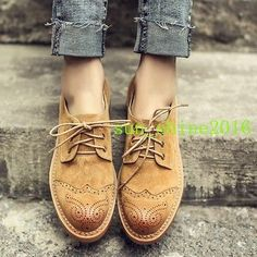 Hot-Ladies-New-Round-Toe-Low-Heel-Brogues-Lace-Up-Oxford-Stylish-Wingtips-Shoes