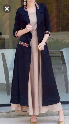 Long Kurti With Jacket And Embroidery Work Kurti With Jacket, Gown With Jacket, Abaya Fashion, Women's Fashion Dresses, Cardigan Fashion, Stylish Dresses, Casual Dresses, Mode Abaya, Indian Gowns Dresses