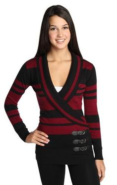 long sleeve sweater with v neck shawl collar and stripes