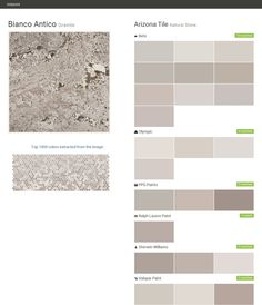 Bianco Antico. Granite. Natural Stone. Arizona Tile. Behr. Olympic. PPG Paints. Ralph Lauren Paint. Sherwin Williams. Valspar Paint.  Click the gray Visit button to see the matching paint names.