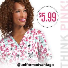 """#thinkpink month is almost here! Uniform Advantage's employees are passionate about breast cancer as it has affected some of our very own. We designed our """"Celebrate Pink White"""" scrub prints to engage our customers in supporting this great cause. They are on sale for $5.99. Check out our site and support today! #uascrubs #uniformadvantage #adayinscrubs #breastcancerawareness #savethetatas #breastcancerscrubs #scrubs #scrublife #nurse #dental #veterinary"""
