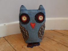 Owl made from recycled denim, bits of  leather/felt & embroidery samples