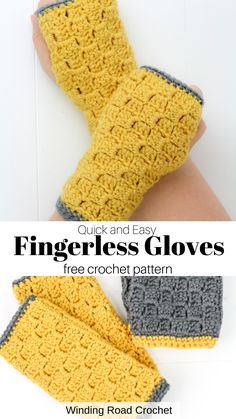 Make a quick and easy pair of fingerless gloves using the corner to corner stitch. Free pattern by Winding Road Crochet. Knitting For BeginnersKnitting HatCrochet PatternsCrochet Ideas Crochet Fingerless Gloves Free Pattern, Crochet Mitts, Fingerless Mitts, Mittens Pattern, Crochet Stitch, Quick Crochet, Free Crochet, Crochet Hand Warmers, Tsumtsum