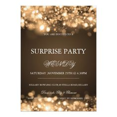 Surprise Birthday Party Gold Sparkling Lights Card