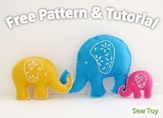 HOW TO SEW SUPER CUTE ELEPHANT FOR LUCK - FREE PATTERN & TUTORIAL :http://sewtoy.com/free-toy-sewing-pattern/how-to-sew-elephant-free-pattern-tutorial/