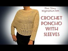How to Crochet a Poncho With Sleeves (Heklani Pončo) - YouTube