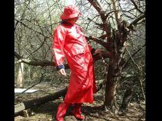 Red Vintage Rainwear Woman Raincoat Rubber Boots Friesennerz