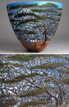 Kenya-Born Artist Hand-Carves Intricate Scenes Of Local Nature On Wood Wooden Art, Wooden Bowls, Art Sculpture En Bois, Kenyan Artists, Vases, Keramik Vase, Intarsia Woodworking, Wood Carving Art, Gourd Art
