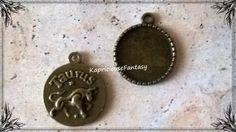 Pendentif Taurus / Taureau, Support Cabochon, Signe Astrologique, Bronze Antique…