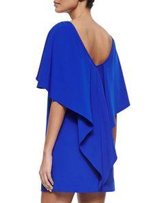 Draped-Back Stretch-Cady Cocktail Dress, Cobalt