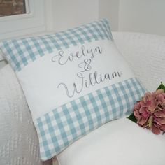 Gingham Couple's Name Cushion by Tuppenny House Designs, the perfect gift for Explore more unique gifts in our curated marketplace. Name Embroidery, Embroidery Designs, Cushions To Make, House Names, Duck Egg Blue, Wedding Anniversary Gifts, Little Gifts, Special Gifts, House Warming