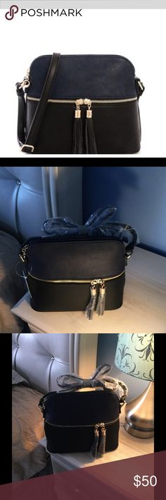 12 hour FLASH SALE 🆕 cross body bag (Navy Blue) Smooth Textured PU Leather W Adjustable Long Strap. Zipper Top Closure , Front Zipper Pocket, Inside Zip Wall Pocket at Back Side, Inside Middle Zipper Pocket Inside & Open Wall Pocket at Front Side . Soft Inside Lining 10(W) X 4.5(D) X 8.5(H) inch.. Bags Crossbody Bags