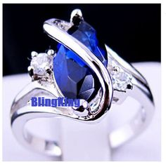 Amazing Lab Marquis Cut Blue Sapphire Ring Size 8. Starting at $5 on Tophatter.com!
