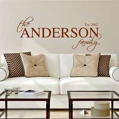 Trendy kitchen wall decals family names Ideas Paint For Kitchen Walls, Kitchen Wall Decals, Family Name Art, Family Names, Family Name Established, Name Decorations, Name Wall Art, Kitchen Colour Schemes, Vinyl Wall Quotes