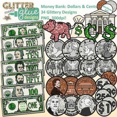 Money Bank: Dollars & Cents Clipart: Money currency clipart galore! Would you like to get your elementary school-aged kids excited about common core math and counting money? Looking for a way to freshen up your math TPT seller products or tap into the common core with cool coins? What's not to love about money with a little extra bling? LINK: https://www.teacherspayteachers.com/Product/Money-Bank-Dollars-Cents-Clip-Art-US-Currency-768666 #math $7.00
