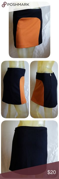 """Vivienne Tam-  Mod Mini skirt Black skirt with Orange front panel. Fully lined, gold-tone side zipper. 28"""" banded waist, 15 1/2"""" long.  69% poly/27% rayon/4% spandex, acetate lining. Vivienne Tam Skirts Mini"""