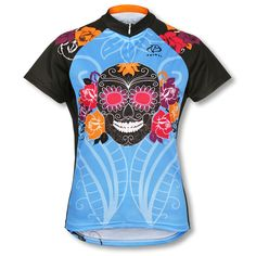 This unique Day of the Dead Jersey is available only through Team Estrogen. Made by Primal Wear, it has a women's specific cut with no elastic at the sleeves or waist. Match it up with the Sugar Skulls Socks! Primal Wear, Unique Cycling Jerseys, Day Of The Dead Skull, Women's Cycling Jersey, Bike Wear, Fit Board Workouts, Ladies Day, Cute Fashion, Cute Shirts